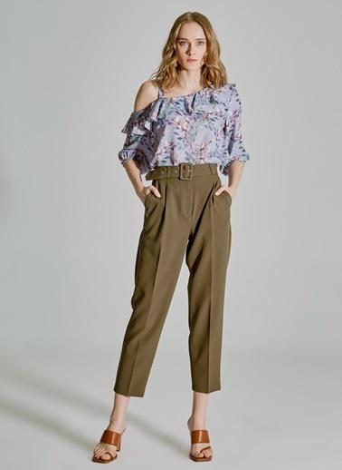 People By Fabrika Desenli Kol Detaylı Volanlı Bluz Lila